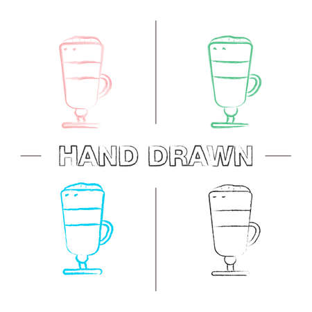Latte macchiato hand drawn icons set. Coffee. Color brush stroke. Isolated vector sketchy illustrations