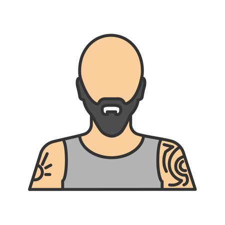 Tattoo artist color icon. Tattooist. Man with tattooed body. Isolated vector illustration