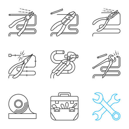 Construction tools linear icons set. Thin line contour symbols. Pliers, tongs, nippers, pincers cutting wire, crossed wrenches, adhesive tape, tool bag. Isolated vector outline illustrations