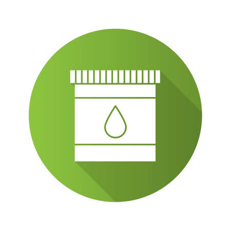 Printer cartridge ink flat design long shadow glyph icon. Plastic bottle with drop. Vector silhouette illustration