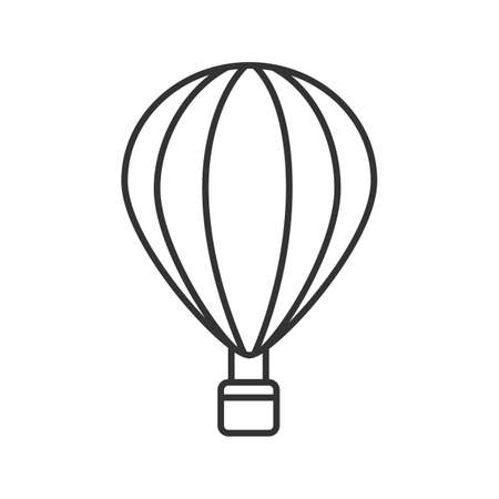 Hot air balloon linear icon. Thin line illustration. Aerostat. Contour symbol. Vector isolated outline drawing