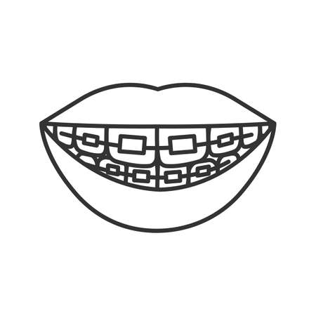 Dental braces linear icon. Thin line illustration. Teeth aligning. Contour symbol. Vector isolated drawing