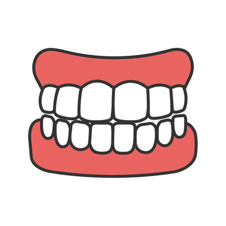 Dentures color icon. False teeth. Human jaw with teeth model. Isolated vector illustration