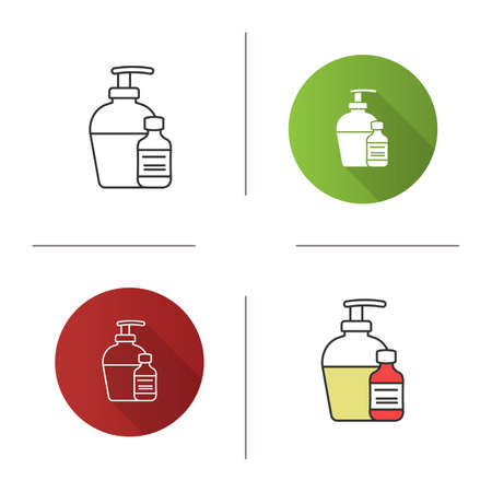 Antibacterial liquid and soap icon. Tattoo aftercare. Flat design, linear and color styles. Isolated vector illustrations