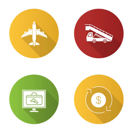 Airport service flat design long shadow glyph icons set. Airplane, stair truck, baggage scanner, dollar currency exchange. Vector silhouette illustration