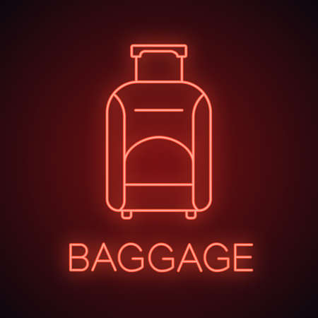 Baggage neon light icon. Luggage. Wheeled travel bag with handle. Glowing sign. Vector isolated illustration