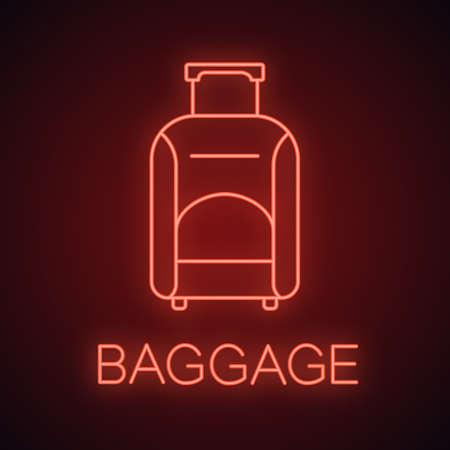 Icona della luce al neon del bagaglio. Bagaglio. Borsone da viaggio con ruote con manico. Segno luminoso. Illustrazione vettoriale isolato