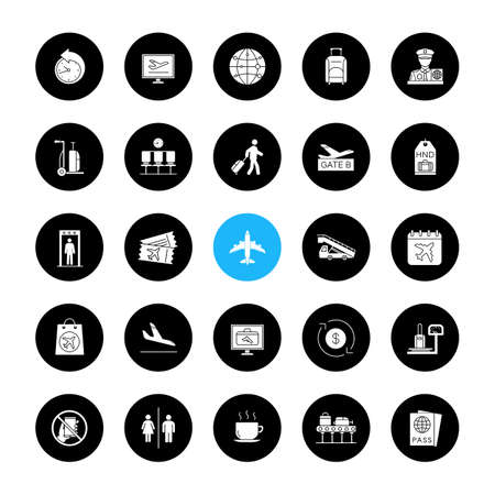Airport service glyph icons set. Passport control, baggage check, tickets, flights management. Vector white silhouettes illustrations in black circles Stock Illustratie