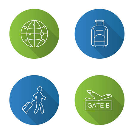 Airport service flat linear long shadow icons set. Route map, baggage, passenger, airport gate. Vector outline illustration