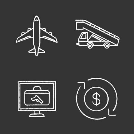 Airport service chalk icons set. Airplane, stair truck, baggage scanner, dollar currency exchange. Isolated vector chalkboard illustrations 向量圖像