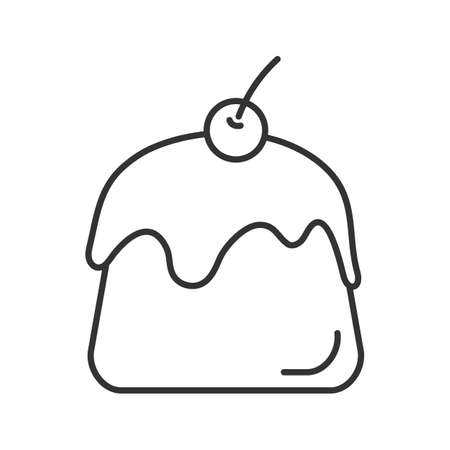 Pudding linear icon. Thin line illustration. Panna cotta. Contour symbol. Vector isolated outline drawing