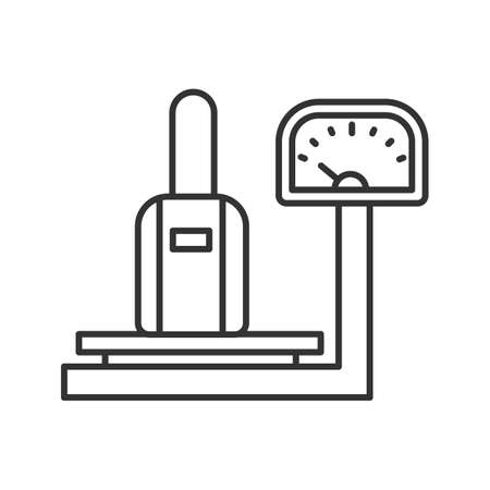 Baggage scales linear icon. Thin line illustration. Luggage weight checking. Contour symbol. Vector isolated outline drawing  イラスト・ベクター素材