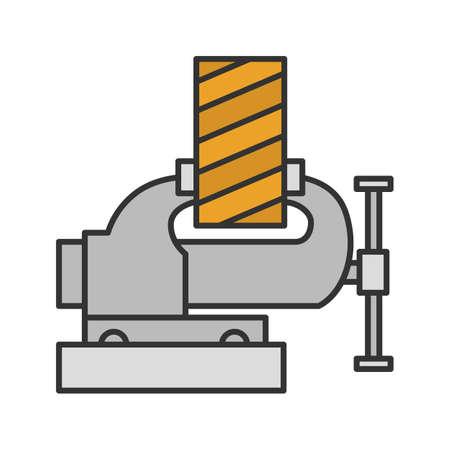 Icono de color de tablón de madera de fijación de tornillo de banco. Vicio de pierna. Ilustración de vector aislado