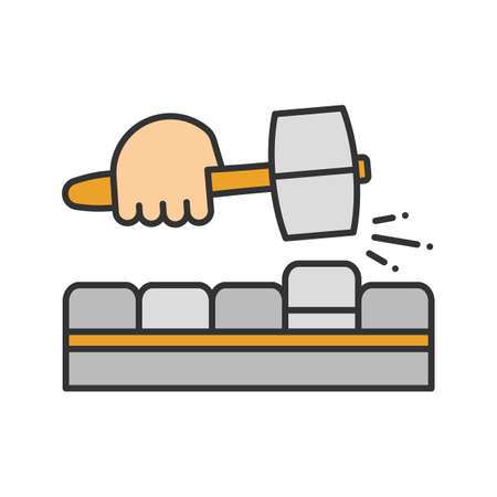 Pavement bricks with lump hammer color icon. Builder's hand. Isolated vector illustration