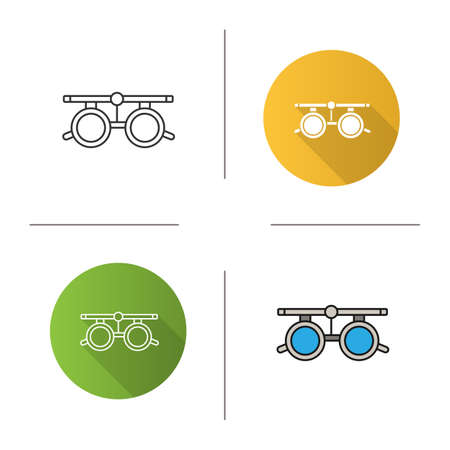 Eye exam glasses icon. Optometry. Visual acuity testing. Flat design, linear and color styles. Isolated vector illustrations  イラスト・ベクター素材
