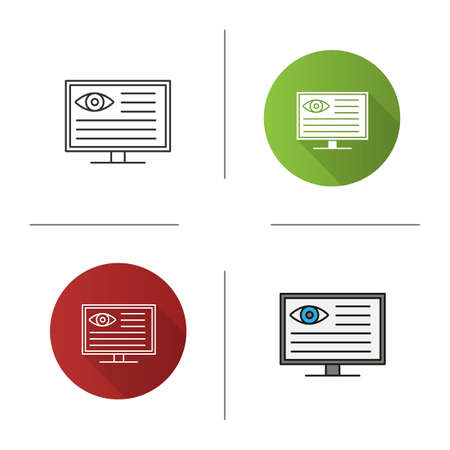 Eye diagnostic computer icon. Vision examination. Flat design, linear and color styles. Isolated vector illustrations Illusztráció