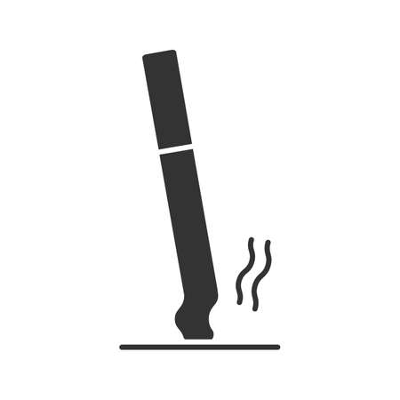 Stubbed out cigarette glyph icon. Stop smoking. Silhouette symbol. Negative space. Vector isolated illustration