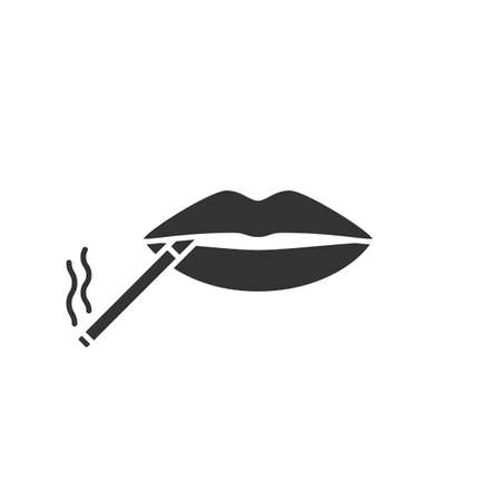 Cigarette in mouth glyph icon. Smoking negative concept. Silhouette symbol. Negative space. Vector isolated illustration