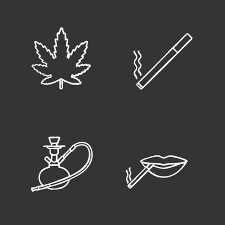 Smoking chalk icons set. Marijuana leaf, burning cigarette, hookah, smoker's mouth. Isolated vector chalkboard illustrations