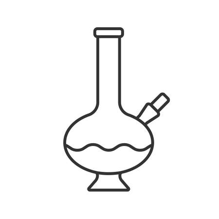 Bong linear icon. Thin line illustration. Marijuana water pipe. Contour symbol. Vector isolated outline drawing