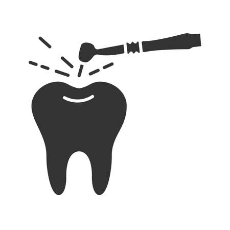 Tooth drilling process glyph icon. Silhouette symbol. Dentistry. Dental handpiece. Negative space. Vector isolated illustration