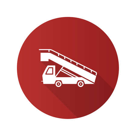 Stair truck flat design long shadow glyph icon. Airstair. Passenger gangway. Vector silhouette illustration