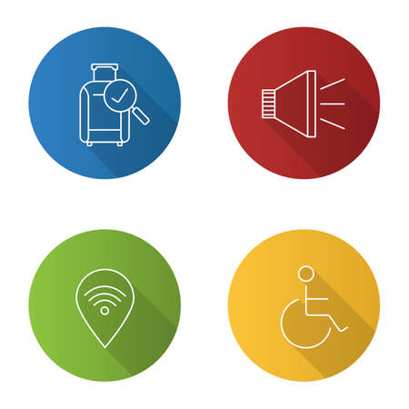 Airport service flat linear long shadow icons set. Checked baggage, megaphone, wheelchair person, wifi zone. Vector outline illustration