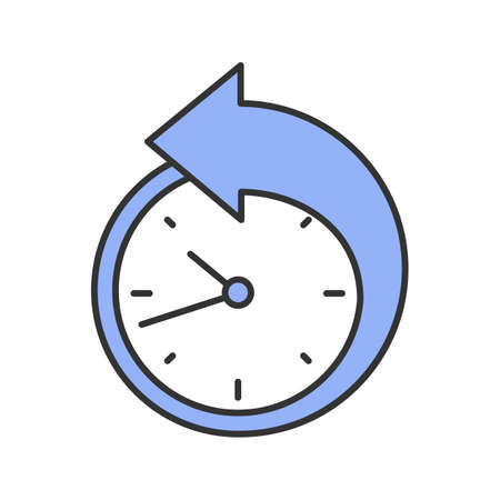 Back arrow around clock color icon. Counterclockwise. Reschedule. Isolated vector illustration