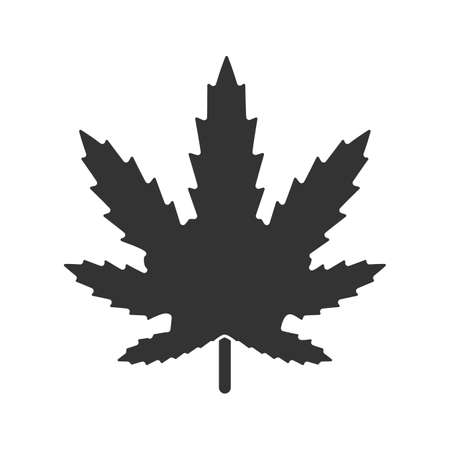 Marijuana leaf glyph icon. Cannabis, ganja. Silhouette symbol. Negative space. Vector isolated illustration