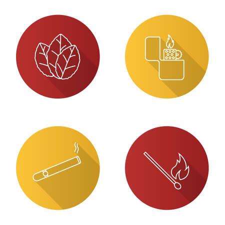Smoking flat linear long shadow icons set. Tobacco leaves, flip lighter, cigar, burning matchstick. Vector outline illustration