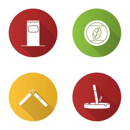 Smoking flat design long shadow glyph icons set. Garbage bin, tobacco leaf, stubbed out cigarette in ashtray, broken cig. Vector silhouette illustration Illustration