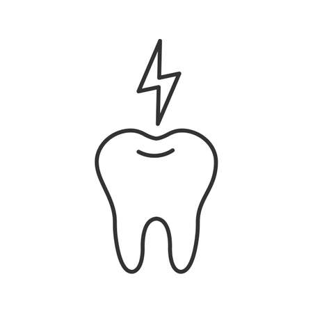 Toothache linear icon. Thin line illustration. Tooth with lightning. Contour symbol. Vector isolated drawing