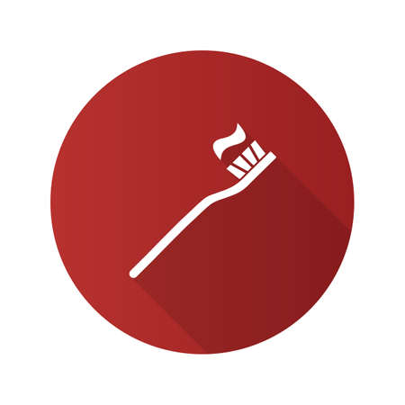 Toothbrush with toothpaste flat design long shadow glyph icon. Dentifrice. Vector silhouette illustration Çizim