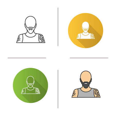 Tattoo artist icon. Tattooist. Man with tattooed body. Flat design, linear and color styles. Isolated vector illustrations