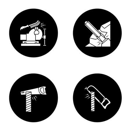 Construction tools glyph icons set. Bench vice and wire brush, iron chisel, hand saw and hacksaw cutting wooden board. Vector white silhouettes illustrations in black circles Illustration