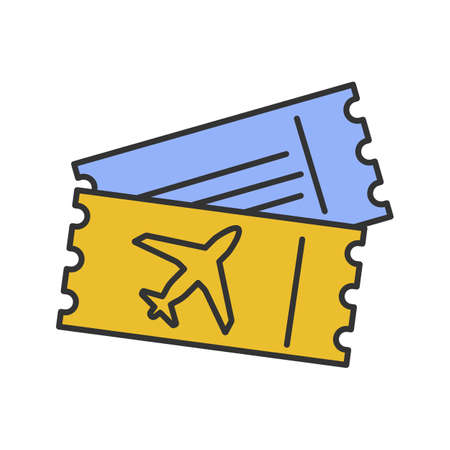 Airplane tickets color icon. Airline boarding pass documents. Isolated vector illustration
