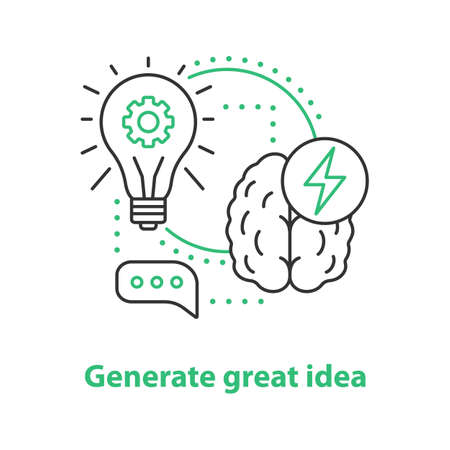 Generating idea concept icon. Thinking idea thin line illustration. Vector isolated outline drawing