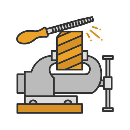 Bench vice fixing wooden plank color icon. Isolated vector illustration