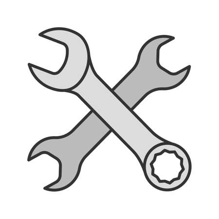 Crossed wrenches color icon. Double open ended and combination spanners. Isolated vector illustration