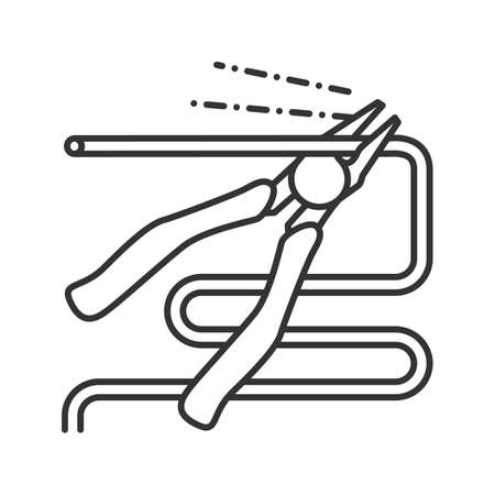 Nippers, pincers, tongs, pliers linear icon. Thin line illustration. Gripping tongs cutting wire contour symbol. Vector isolated outline drawing 일러스트