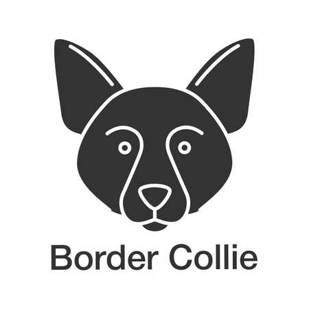 Border Collie glyph icon. Scottish sheepdog. Silhouette symbol. Negative space. Vector isolated illustration Stock Illustratie