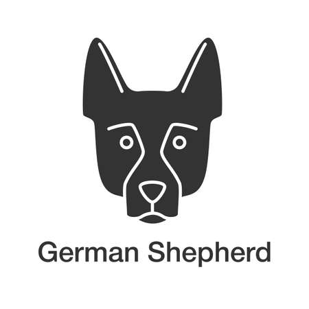 German Shepherd glyph icon. Alsatian. Guide dog breed. Silhouette symbol. Negative space. Vector isolated illustration