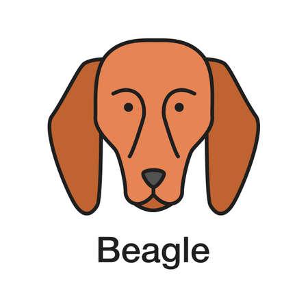 Icona di colore Beagle. Razza di cane da caccia. Illustrazione vettoriale isolato Vettoriali
