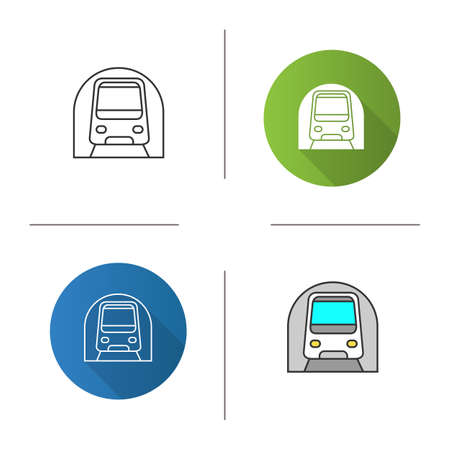 Icono de metro. Metro subterráneo. Tránsito rápido. Diseño plano, estilos lineales y de color. Ilustraciones vectoriales aisladas