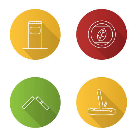 Smoking flat linear long shadow icons set. Garbage bin, tobacco leaf, stubbed out cigarette in ashtray, broken cig. Vector outline illustration