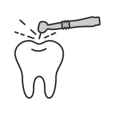 Tooth drilling process color icon. Dentistry. Dental handpiece. Isolated vector illustration