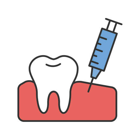 Gum injection color icon. Dental anesthesia. Isolated vector illustration