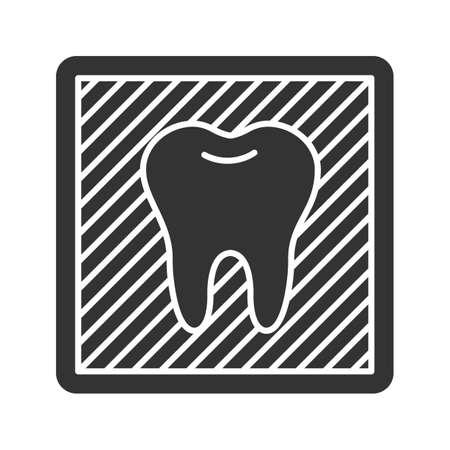 Tandheelkundige X-ray glyph-pictogram. Radiografisch beeld met tand. Tandheelkundige radiografie. Silhouet symbool. Negatieve ruimte. Vector geïsoleerde illustratie