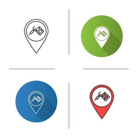 Tattoo studio location icon. Map pinpoint with tattoo machine. Flat design, linear and color styles. Isolated vector illustrations