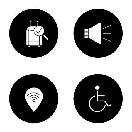 Airport service glyph icons set. Checked baggage, megaphone, wheelchair person, wifi zone. Vector white silhouettes illustrations in black circles